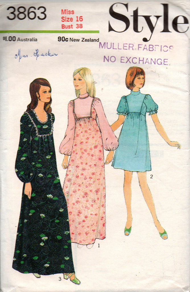 Style 3863 Womens Empire Waisted Maxi or Dress 70s Vintage Sewing Pattern  Size 16 Bust 38 inches