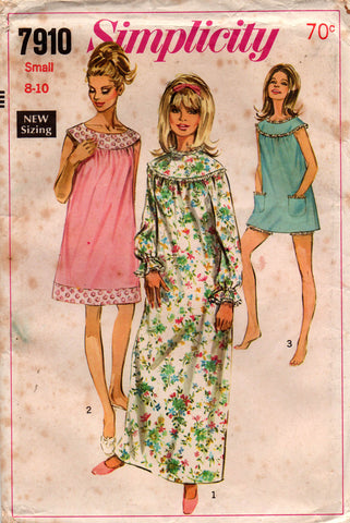 simplicity 7910 60s nightgown