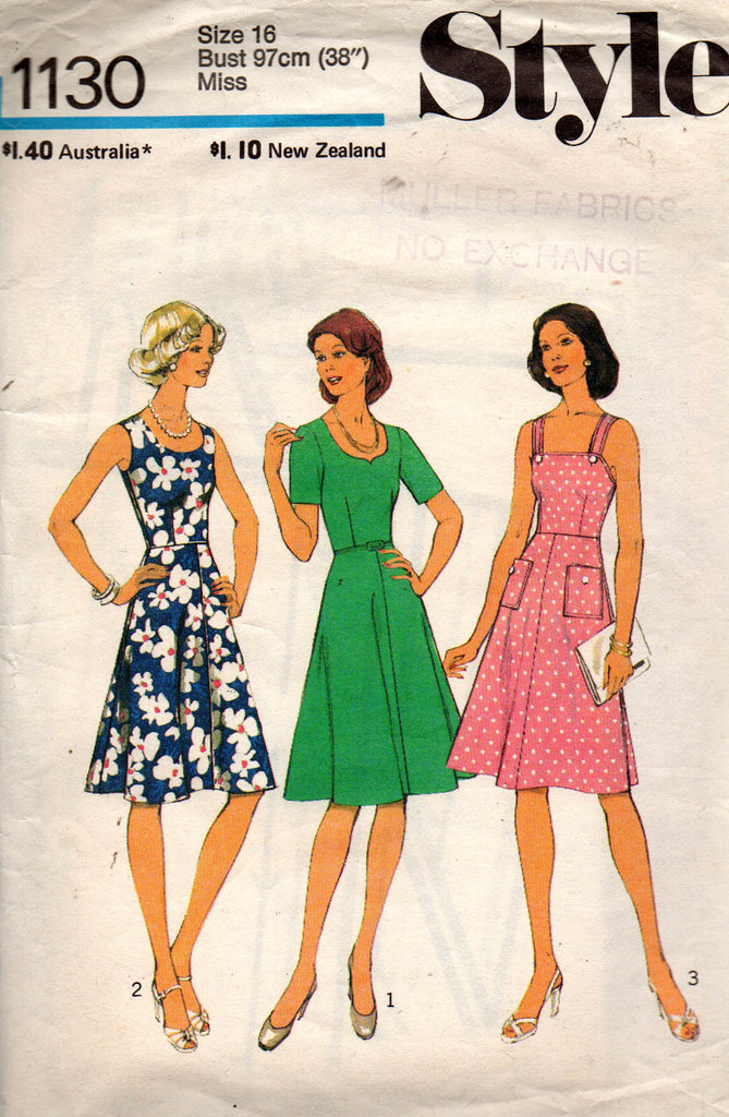 Style 1130 Womens Fit \u0026 Flare Dresses 70s Vintage Sewing Pattern Size 16  Bust 38 inches