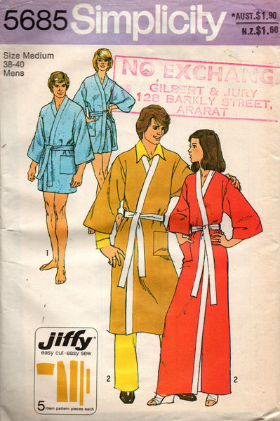 Simplicity 5685 Mens Jiffy Wrap Robe Kimono Style Dressing Gown 70s Vintage  Sewing Pattern Size MEDIUM Chest 38 - 40 inches
