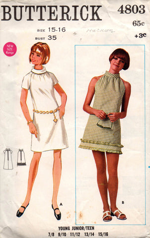Butterick 4803 young junior teen shift dress 60s