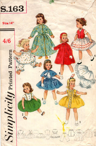 simplicity s.163 60s dolls clothes