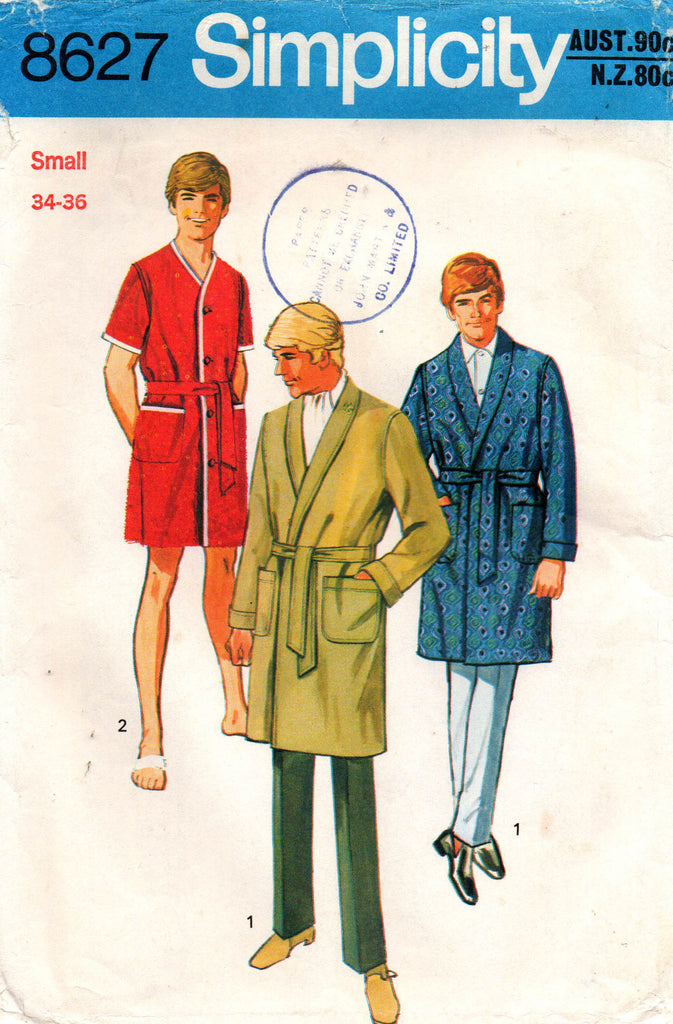 Simplicity 8627 Mens Teen Boys Wrap Robe Dressing Gown 1970s Vintage S