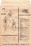 Vogue Couturier Design 100 RONALD PATERSON Womens Evening Dress with Fan Pleated Bodice 1950s Vintage Sewing Pattern Bust 36 inches
