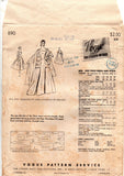 Vogue Couturier Design 890 SYBIL CONNOLLY Womens Full Skirt Pleated Evening Dress with Stole 50s Vintage Sewing Pattern Size 16 Bust 34 inches