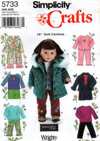 simplicity 5733 18 inch doll clothes