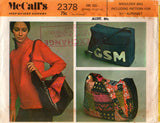McCall's 2378 Womens Tote Beach Shoulder Bags Monogram Applique 70s Vintage Sewing pattern UNCUT Factory Folds