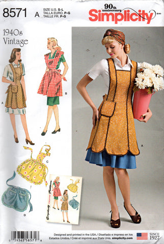 Simplicity 8571 aprons reissued 40s