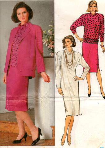 butterick 3324 80s dress and jacket
