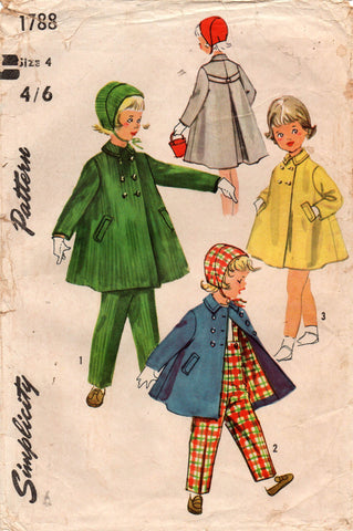 simplicity 1788 toddlers coat suspender pants hat 50s