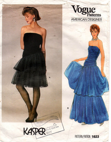d1b0ae31b1a Vogue American Designer 1623 KASPER Womens Strapless Ruched Prom Formal  Cocktail Gown 80s Vintage Sewing Pattern