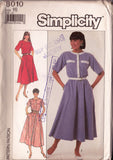 Simplicity 8010 Vintage Sewing Pattern Collarless Shirtdress Pattern Size 14 or 16 UNCUT FF