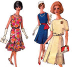 1960s Simplicity 4390 Inverted Pleat Dress Vintage Sewing Pattern Size 12 Bust 32 inches