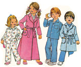 Simplicity 7068 Toddler Boy or Girls Dressing Gown & Pajamas 70s Vintage Sewing Pattern Size 5 Chest 24 inches