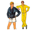 70s Mens Retro Tracksuit & Shorts Pattern Simplicity 8360 Jogging Suit Active Wear Vintage Sewing Pattern MEDIUM Chest 38 -40 inches