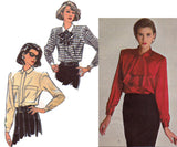 Style 1094 Womens Ruffled or Plain Blouse 80s Vintage Sewing Pattern Size 16 18 20 Bust 38 40 42 inches UNCUT Factory Folded