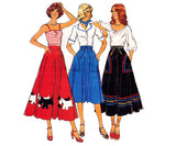 Style 1932 Gored Bias Skirt with Scottie Dog Motifs Pattern 70s Boho Flared Skirt Size 10 Waist 25 inches UNCUT