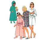 1980s Simplicity 5838 Vintage Sewing Pattern Girls Robe Raglan Sleeves 2 lengths Size 6 or 12
