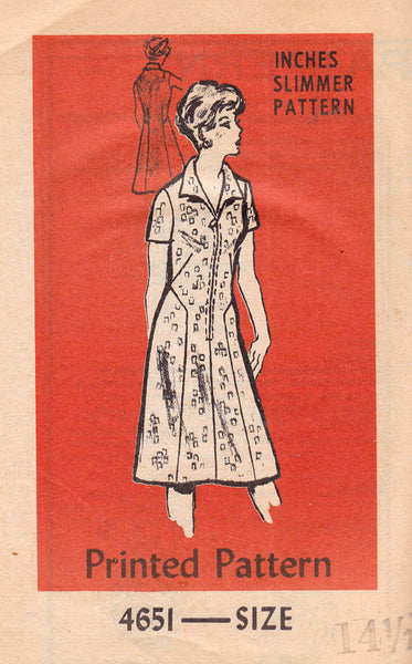 1970s Zip Front Dress Mail Order 4651 Vintage Sewing Pattern Size 14 1/2 Bust 37 inches