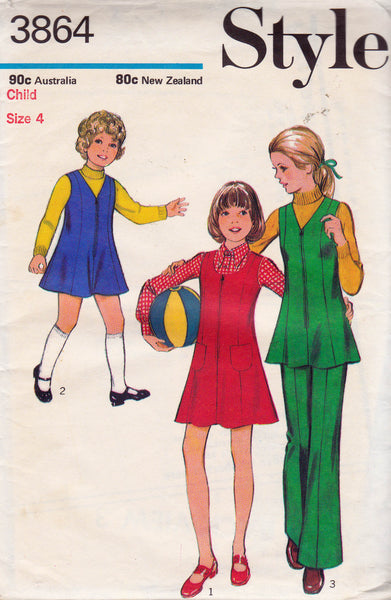 1970s Style 3864 Girls Zip Front Tunic or Jumper & Pants Pattern Size 4 Breast 23 inches