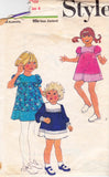 1970s Style 4141 Toddler Girls Puff Sleeve A Line Dress Pattern Size 4 Breast 23 inches