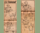 Pictorial Review 8319 RARE 1930s Womens Bolero Sleeveless or Mutton Sleeve Jackets Vintage Sewing Pattern Bust 32 inches