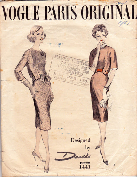 Vogue Paris Original 1441 JEAN DESSES Womens 50s Sheath Dress Vintage Sewing Pattern Size 14 Bust 34 inches