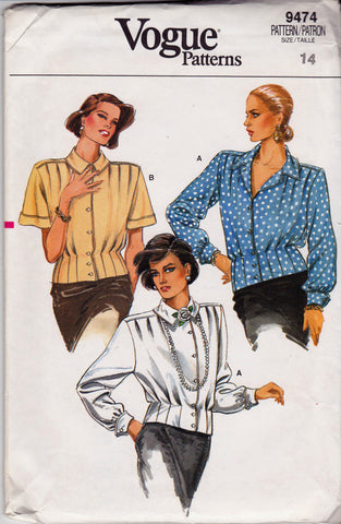 Vogue 9474 Womens Pleated Blouse 80s Vintage Sewing Pattern Size 14 Bust 36 inches UNCUT Factory Folds