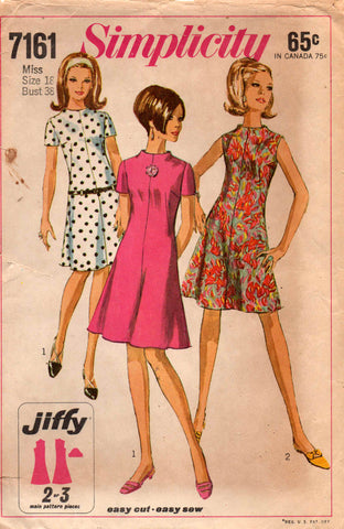 simplicity 7161 funnel neck dress 60s