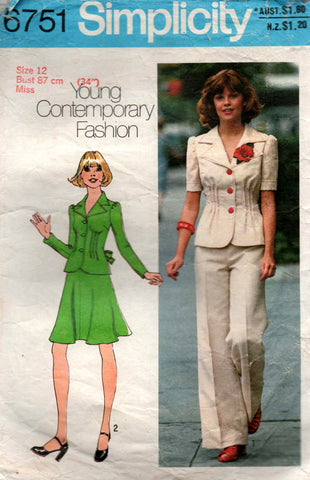 Simplicity 6751 Womens Jacket Skirt & Flares 1970s Vintage Sewing Pattern Size 12 Bust 34 inches