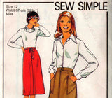 Style 1977 Womens Skirts Inverted Pleat Shaped Pockets 1970s Vintage Sewing Pattern Size 12 Waist 26 1/2 inches UNCUT Factory Folded