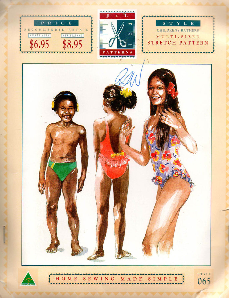 J & L 065 Boys and Girls Racing Bathers Swimsuit 90s Sewing Pattern ...