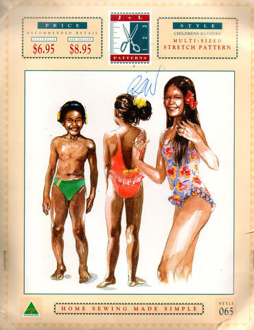 J & L 065 Boys and Girls Racing Bathers Swimsuit 1990s Sewing Pattern Sizes 2 - 12 UNCUT Master Pattern