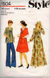 Style 1504 Womens Boho Maternity Top Dress Pants 70s Vintage Sewing Pattern Size 10 or 14