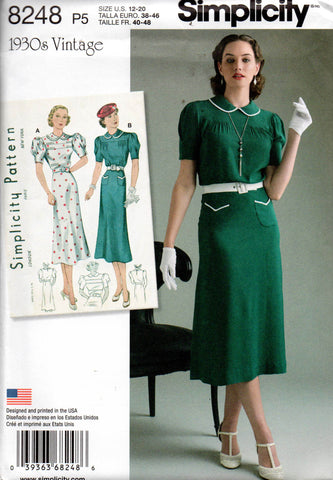 Simplicity 8248 Womens Short Sleeved Reissued 1930s Dress Sewing Pattern Sizes 12 - 20 UNCUT Factory Folded