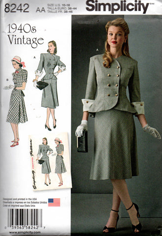 Simplicity 8242 Womens 2 Piece Dress 40s Repro Sewing Pattern Sizes 10 - 18 UNCUT Factory Folded