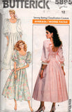 Butterick 5895 Womens Puff Sleeved Drop Waisted Wedding Dress Bridal Prom Formal Gown 80s Vintage Sewing Pattern Size 10 or 12