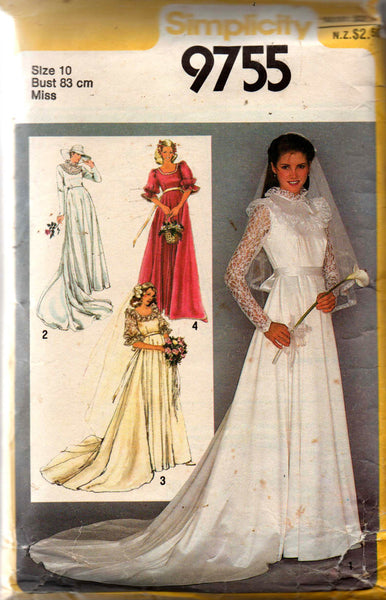 80s Wedding Dress.Simplicity 9755 Womens Romantic Lace Trimmed Wedding Dress 80s Vintage Sewing Pattern Size 10 Bust 32 1 2 Inches