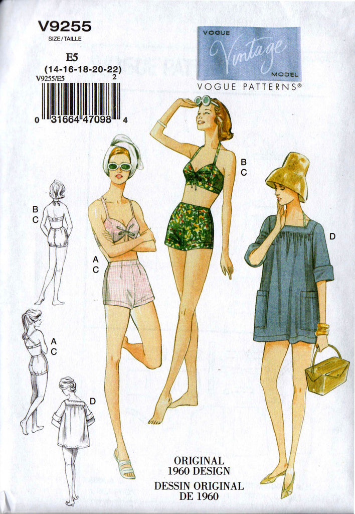 Vogue 9255 Womens Pin Up Swimsuit Bikini & Cover Up Caftan Top Reissue 60s Sewing Pattern Size 6 - 14 or 14 - 22 UNCUT Factory Folded