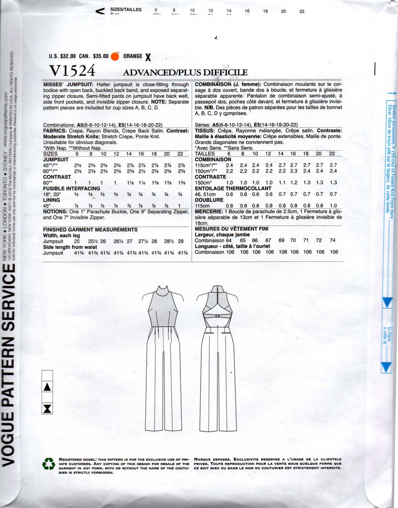 a3a542e395df Vogue 1524 Rebecca Vallance jumpsuit  Vogue 1524 REBECCA VALLANCE Womens  Custom Fit Sleeveless Jumpsuit Sewing Pattern Size 6 - 14 or ...
