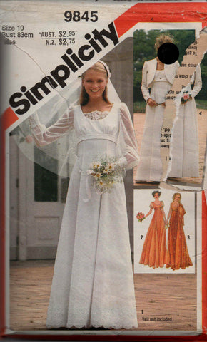 Simplicity 9845 80s wedding dress