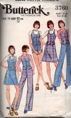 3b95843f202d1 Butterick 3760 Womens Boho Vest Skirt Pants   Shorts 70s Vintage Sewing  Pattern Size 14 Bust 36 inches.  8.00 AUD. Kwik Sew 916 70s square dance  dress