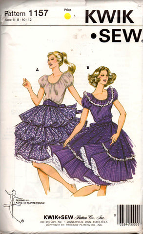 759609dc50fa Kwik Sew 1157 Womens Square Dance Dress or Peasant Dress 1980s Vintage  Sewing Pattern Size 6 8 10 12 UNCUT Factory Folded