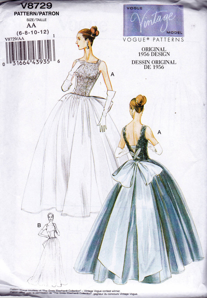 Vogue V 8729 Womens Full Skirt Bridal Gown Sewing Pattern 1950s ...