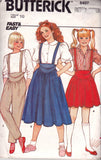 Butterick 6407 Girls Skirt & Pants with Shaped Waistband 1980s Vintage Sewing Pattern Size 10 Waist 24 1/2 inches