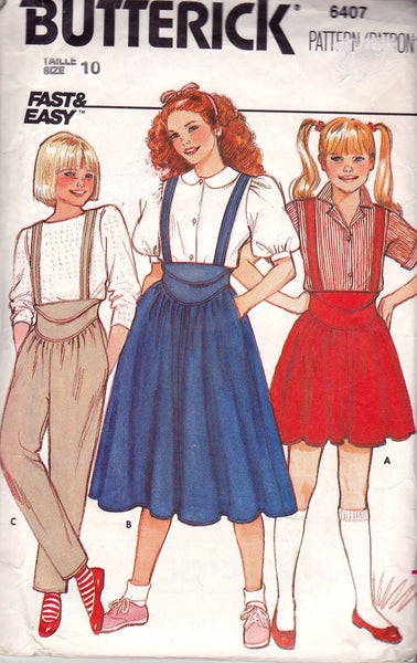 Butterick 6407 Girls Skirt & Pants with Shaped Waistband 80s Vintage Sewing Pattern Size 10 Waist 24 1/2 inches