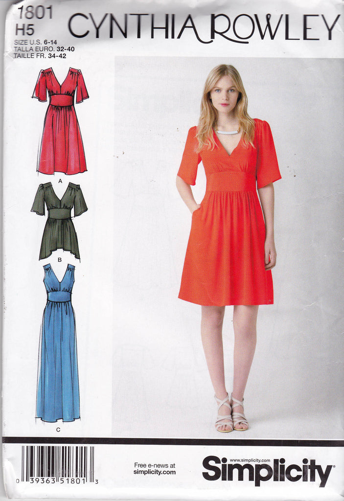Simplicity 1801 CYNTHIA ROWLEY Womens V Neck Dress or Tunic Sewing Pattern Size 6 8 10 12 14 UNCUT Factory Folds