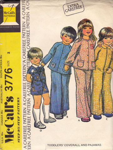 McCall's 3776 Toddlers Dungarees Rompers Pajamas 70s Vintage Sewing Pattern Size 2 Chest 21 inches