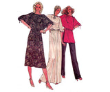 Butterick 6363 Womens Batwing Sleeved Tunic Dress & Pants 1970s Vintage Sewing Pattern Size 12 - 16 UNCUT Factory Folded