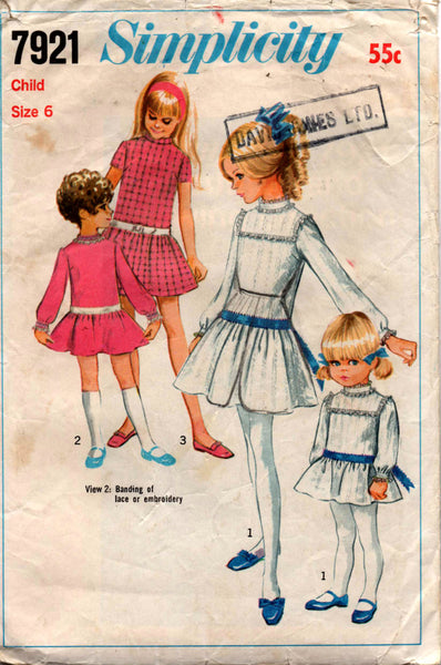 Simplicity 7921 60s girls dress